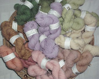 NEW: 50g skein of organic wool yarn, ARAN thickness, gently plant-dyed, from our flock of Herefordshire Lleyn sheep.