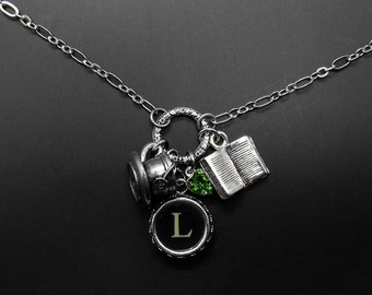 Book Tea Necklace Reader Drinker Bibliophile Personalized Literary Jewelry