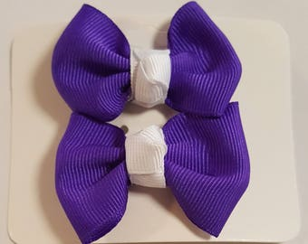 Purple set of 2 small bows with white center-grosgrain ribbon-girls bows-toddler girls-hair accessories