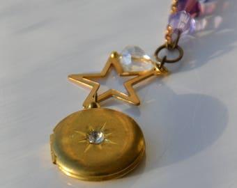 Vintage locket star charm Zwarovski purple beads assemblage