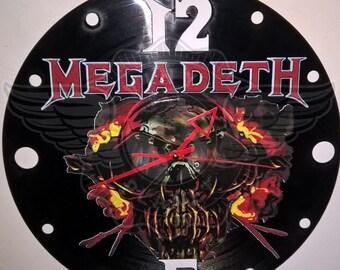"Megadeth vinyl record wall clock - upcycled from an original 12"" vinyl record"