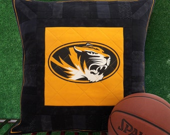 Missouri Tigers Pillow Sham | Mizzou Pillow Cover | MU Pillow Sham | Truman the Tiger | University of Missouri Black and Gold | Quilted Sham