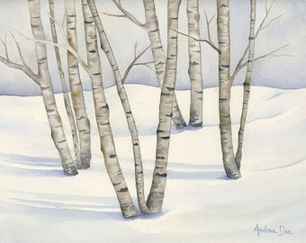 Watercolor Birch Tree Painting, Winter Birch Trees  8 x 10 Print Gray Birch Tree Wall Art