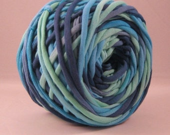 T-Shirt Yarn, Tshirt Yarn, Hand Dyed, Aqua, Blue, Verdant Green, 60 Yards, T Shirt Yarn, Cotton Yarn - Fabric Yarn - Chunky Yarn