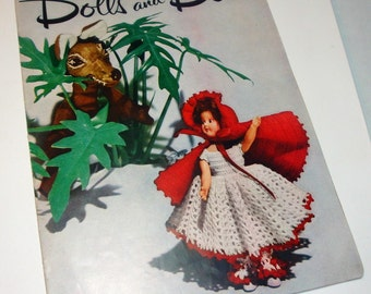 Vintage Dolls And Dolls, Howto Make Doll Clothes, Crochet Booklet, Alice, Queen of Hearts, Red Riding Hood, Jack and Jill, 1951 (703-15)