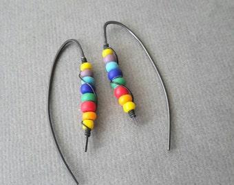 Rainbow Copper Oxidized Earrings, Beaded Earrings, Handmade Wire Earrings, Chakra Coloured Earrings, Rainbow Hoops