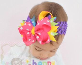 Rainbow Hair Bow - Rainbow Headband - Colorful Hair Bow - Hair Clip - Summer Hair Bow - Bright Fun Colors