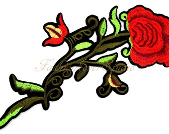 Large Flower patch, Iron On Rose patch, Red Rose applique, Embroidered flower applique,  Embroider Rose  patches