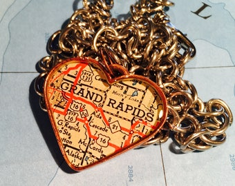 Grand Rapids Michigan Map Pendant, Copper Heart Map Pendant