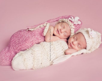 Baby Hats, Twin Hats, Newborn Hat Set, PICK YOUR color Hat and Cocoon set, Stocking Newborn Baby Hat