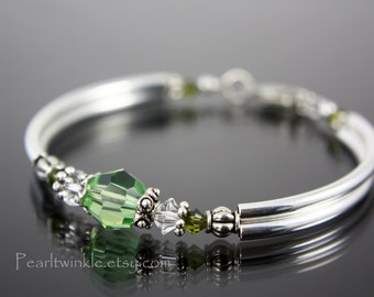 Light Green Crystal Bracelet, Mother's Day Gift under 50, Peridot Green Crystal Swarovski Bracelet, August birthstone, Gift box, bridesmaid