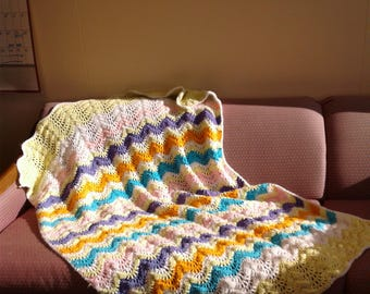 Crocheted Lacy Pastel Afghan