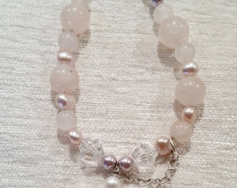 Rose Quartz and Pearls with Crystal Quartz Heart Pendant