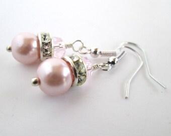 Pink Bridesmaid Earrings, Pink Wedding, Bridal Earrings, Bridal Jewelry, Pink Bridal Earrings, Baby Pink Earrings, Pearl Earrings,