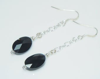 Swarovski Jet Black Crystal Long Chain Drop Earrings