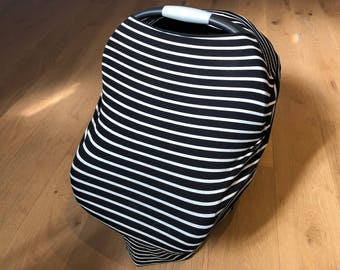 Black and White Stripes 5-in-1 Car Seat and Nursing Cover | Multi-Use Stretchy Cover | Car Seat Cover | High Chair Cover | Cart Cover