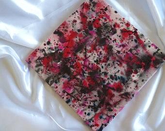Abstraction noir et rouge Eclaboussures artistique unique abstrait Tableau Peinture Décoration moderne Carré Format 40 x 40 cm 15 x 15inch