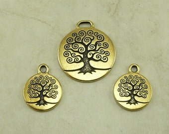 TierraCast Tree of Life Charms and Pendant Mix 3 Pieces - Bodhi Buddha Nature - 22kt Gold plated Lead Free Pewter - I ship Internationally