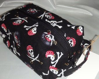 Pirate Bag, Skull & Crossbones Bag, Dopp Kit, Toiletry Bag, Pencil Case, Snack Bag, Zippered Pouch, Go Bag, English Wet Sack, Skull Bag