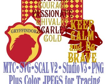Griffindor House Bundle of 4 Harry Potter Cutting  SCAL MTC SVG Cut File