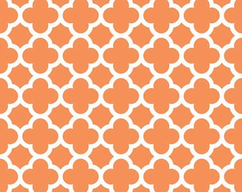 Orange Quatrefoil Fabric - Orange Quatre Foil by Riley Blake Designs - 1/2 Yard - Half Yard