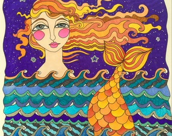 Mermaid adult coloring page instant digital download pdf