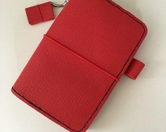 Traveler notebook midori pocket cuir rouge