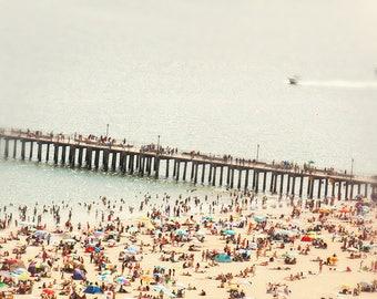Grande échelle aérienne plage photographie / / bondés plage photographie grand / plage aérienne photographie d'Art Print «Les étés nous laissons derrière nous»