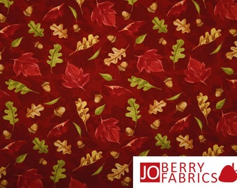 Fall Leaves and Acorn Fabric,  A Colorful Season by Nancy Mink for Wilmington Prints, Quilt or Craft Fabric, Fabric by the Yard