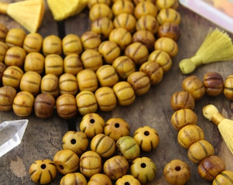 Yellow Bone Beads: Hand Carved Rondelle Melon Beads, 13x11mm, Bohemian Yoga Jewelry Making Craft Supplies, Round Boho Mala Spacers, 22 beads