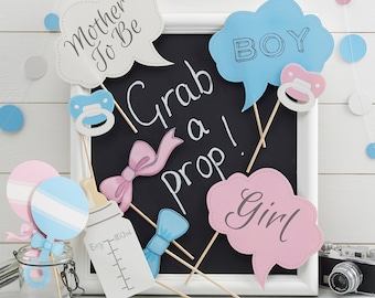 Baby Shower Photo Booth Props, Mother To Be Props, Girl/Boy Photo Props, Blue & Pink Baby Shower Props, New Baby Party, 10 Pack