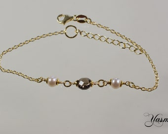 Smoky quartz and pearl gilded Sterling