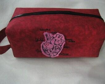 Applique Heart Cosmetic Bag Makeup Bag LARGE