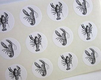 Lobster Stickers One Inch Round Seals