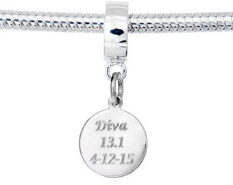 Personalized Engraved Sterling Silver Finisher European Bead-Fits European Bracelets