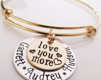 Love You More Bracelet -  Personalized Name Bracelet - Gold Filled  and Sterling Silver Grandmother Gift - Mother's Bracelet