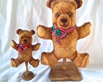 Handmde Christmas Decor One of a Kind Bear Pillow Vintage Stand Display Mantle Decor Redesign Christmas Decoration Gift Display Christmas