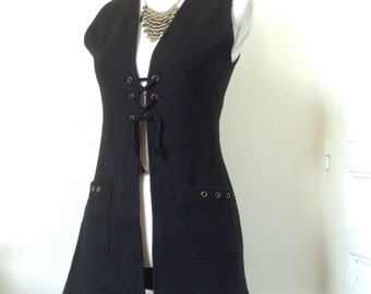 70s french wool tunic dress lace up & sudded pockets very YSL saharienne