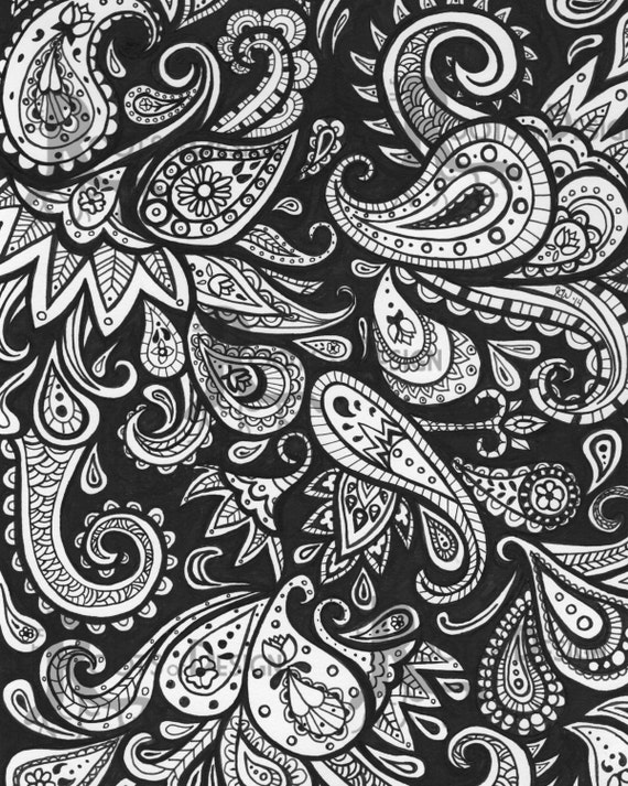 Instant download coloring page paisley art print zentangle for Paisley print coloring pages