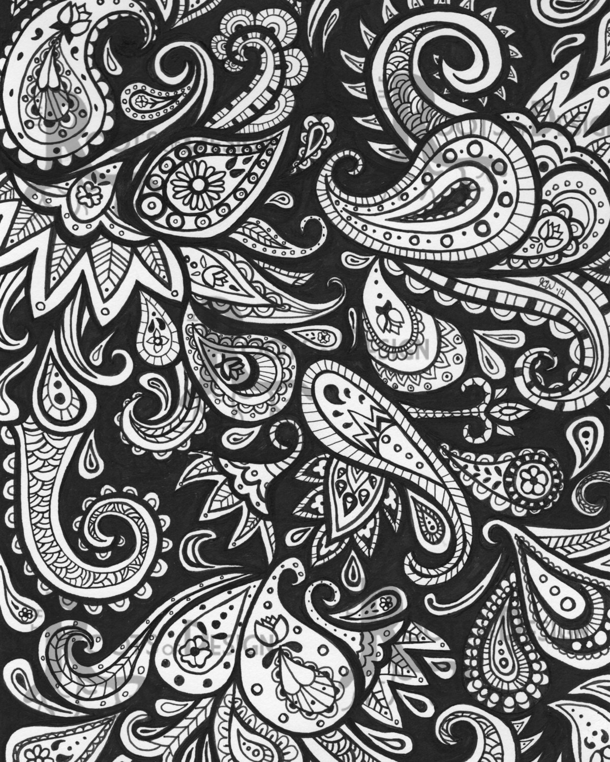 shelly beauchamp zen tangles coloring pages | INSTANT DOWNLOAD Coloring Page Paisley Art Print zentangle