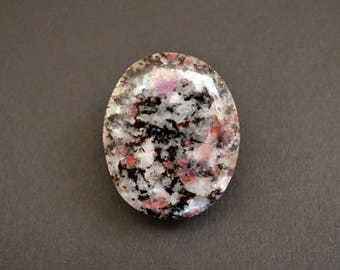 Garnet on matrix natural stone cabochon  40 x 33 x 5 mm