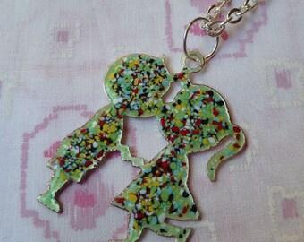 Enameled Kissing Couple Pendant Necklace