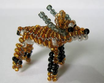 Miniature antelope with seed beads and copper wire