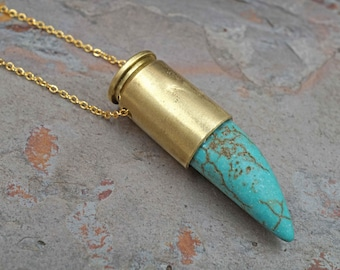 Turquoise Blue Claw Spear Brass Bullet Gold Necklace