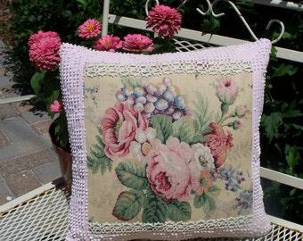 Handmade Vintage Chenille Fabric Pillow
