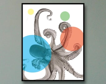 Abstract Octopus Art Print - Minimalist Octopus Art Print - Octopus Wall Art - Octopus Prints - Octopus Poster - Octopus Print - Octopus Art