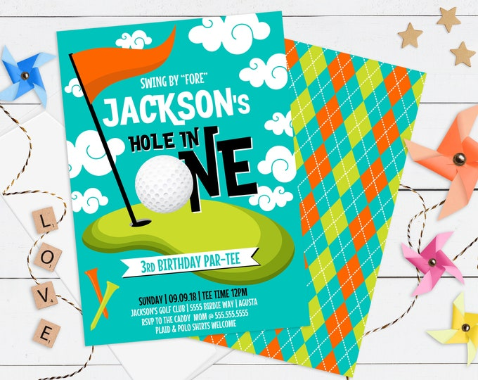 Golf Party Invitation - Mini Golf Party, Golf Par-tee, Hole in One, Golf Birthday | Editable Text - DIY Instant Download PDF Printable