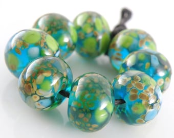 Coral Reef Made to Order SRA Lampwork Handmade Artisan Glass Donut/Round Beads Set of 8 8x12mm