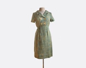 Vintage 1960s tweed short sleeve wiggle dress/ green yellow aqua/ double breasted dress
