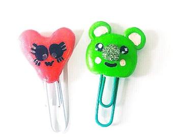Kawaii Heart and Bear paper clips